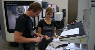 Two pupils in the training workshop